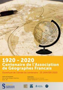 1920 - 2020 Centenaire de l'Assication de Géographie Français